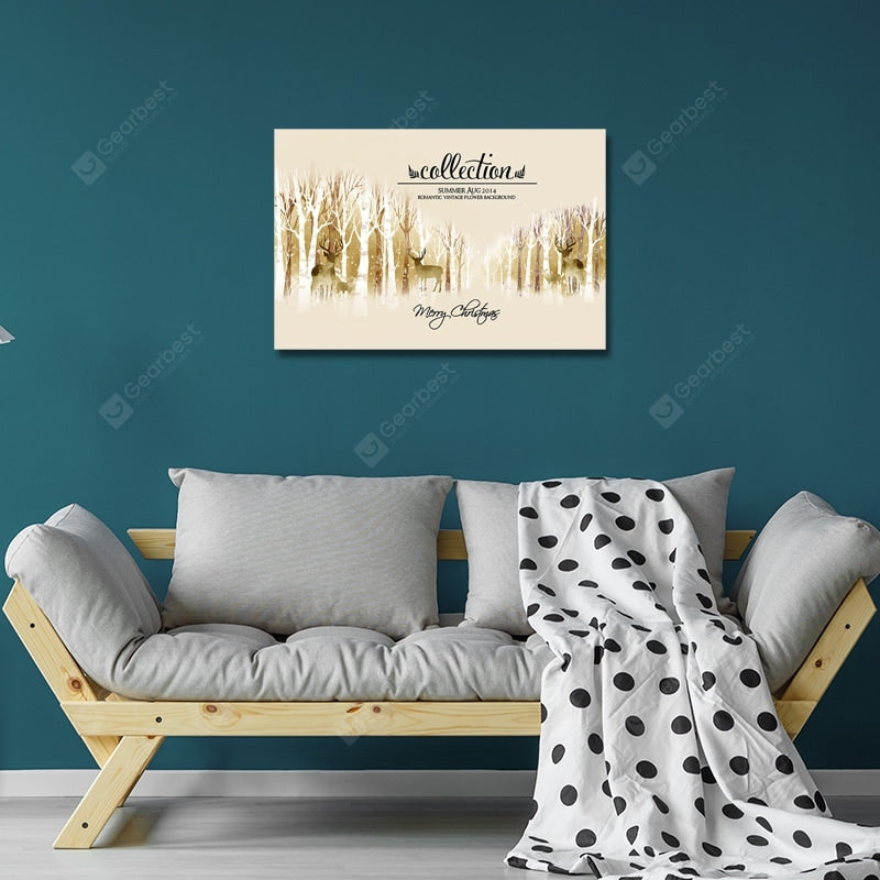 DYC Wild Deer in European Retro Forests Print Art Wall_Art