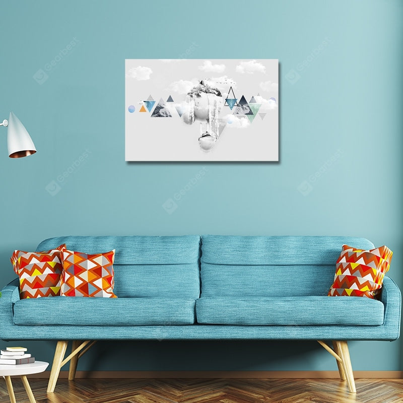 DYC Geometric Maps on White Cloudss Print Art Wall_Art