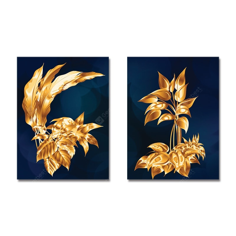 New Chinese Golden Plants Print Art 2PCS Wall_Art