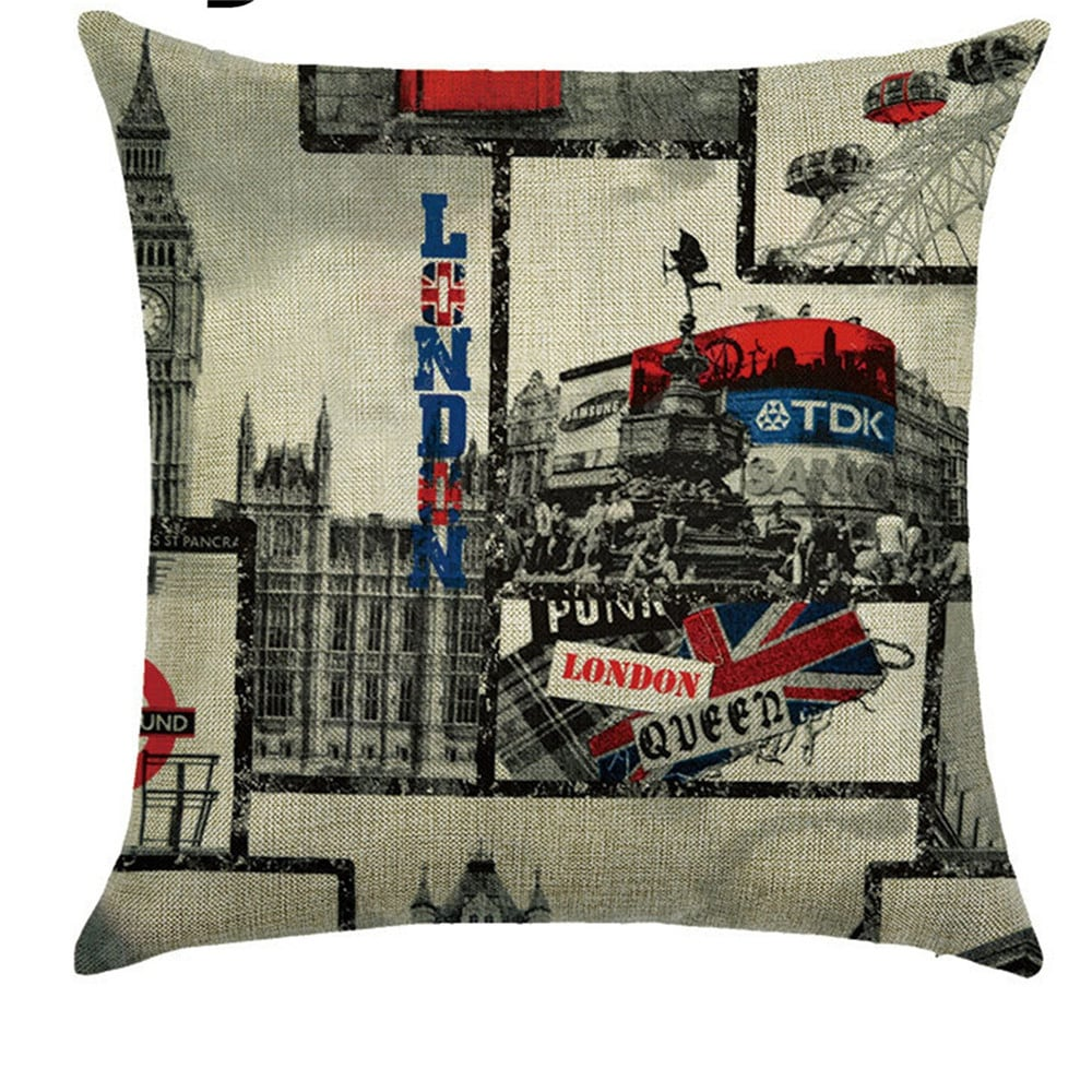 American Sunset Street View Comfortable Linen Pillowcase for Cushion Sofa Tapestries