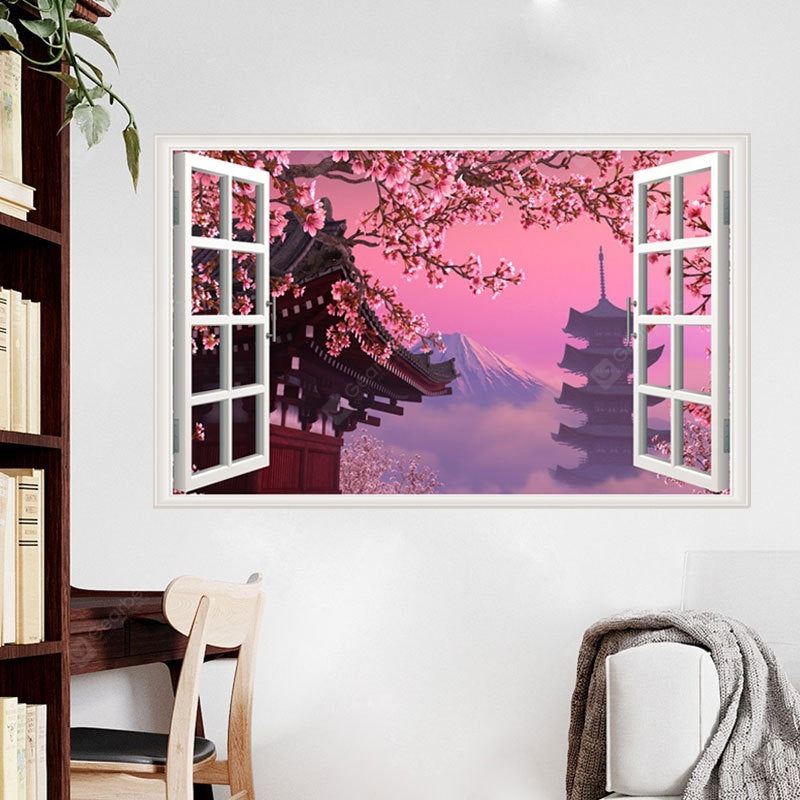 Creative Peach Blossom Tree Movable PVC Window Film Wall Sticker Wall_Art