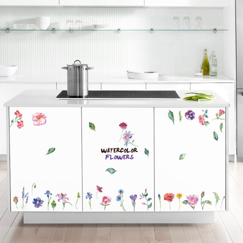 Fashion Colored Flowers PVC Window Film Wall Stickers For Home Decoration Wall_Art
