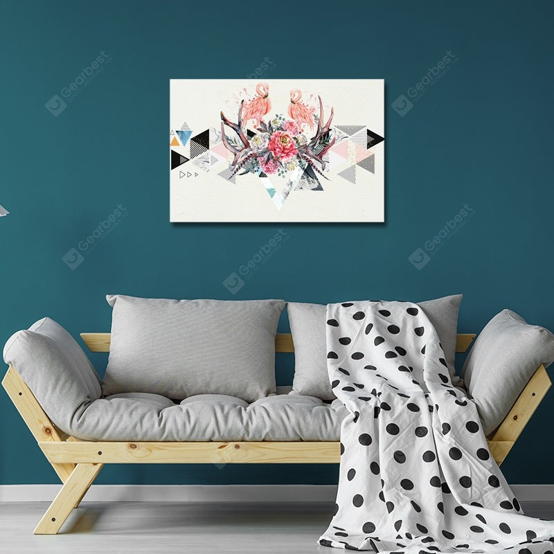DYC Geometry and Flamingo in Flowers Print Art Wall_Art