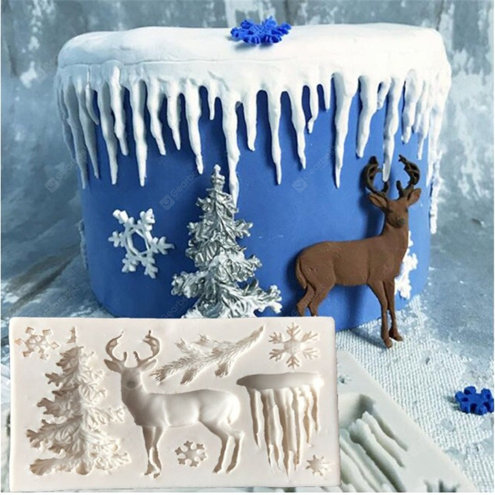 Rectangular Gray White Silicone Christmas Tree Elk Snowflake Icicle Fondant Mold Bakeware