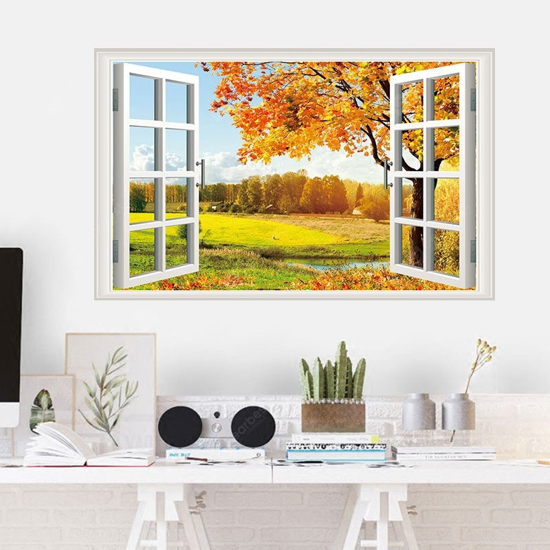 Golden Maple Movable PVC Window Film Wall Sticker Wall_Art