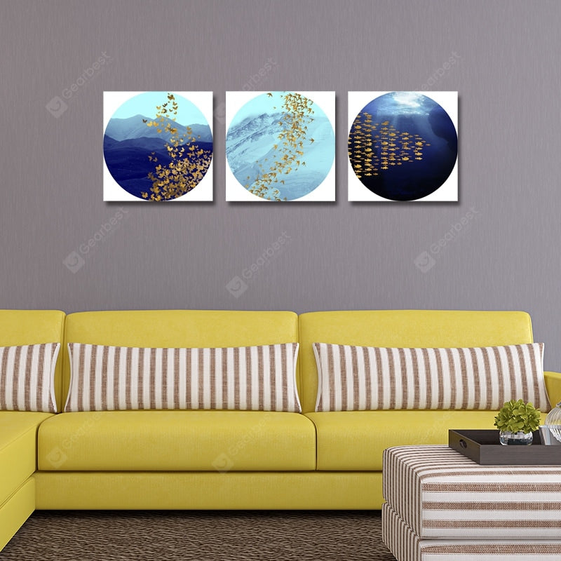 Interesting New Chinese Abstract Landscape Print Art 3PCS Wall_Art