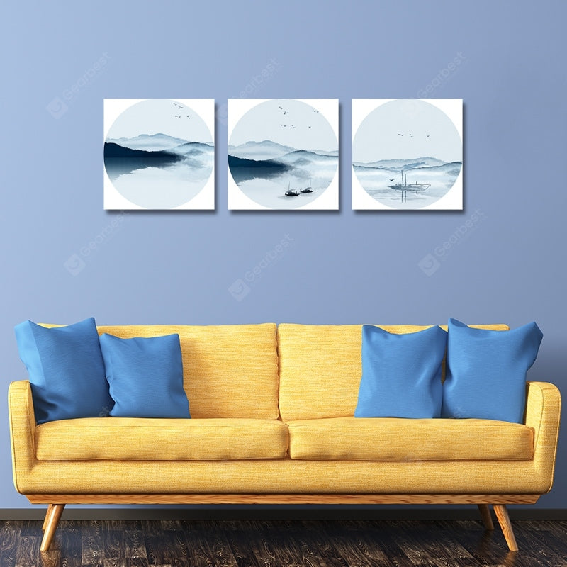 Grace New Chinese Abstract Landscape Print Art 3PCS Wall_Art