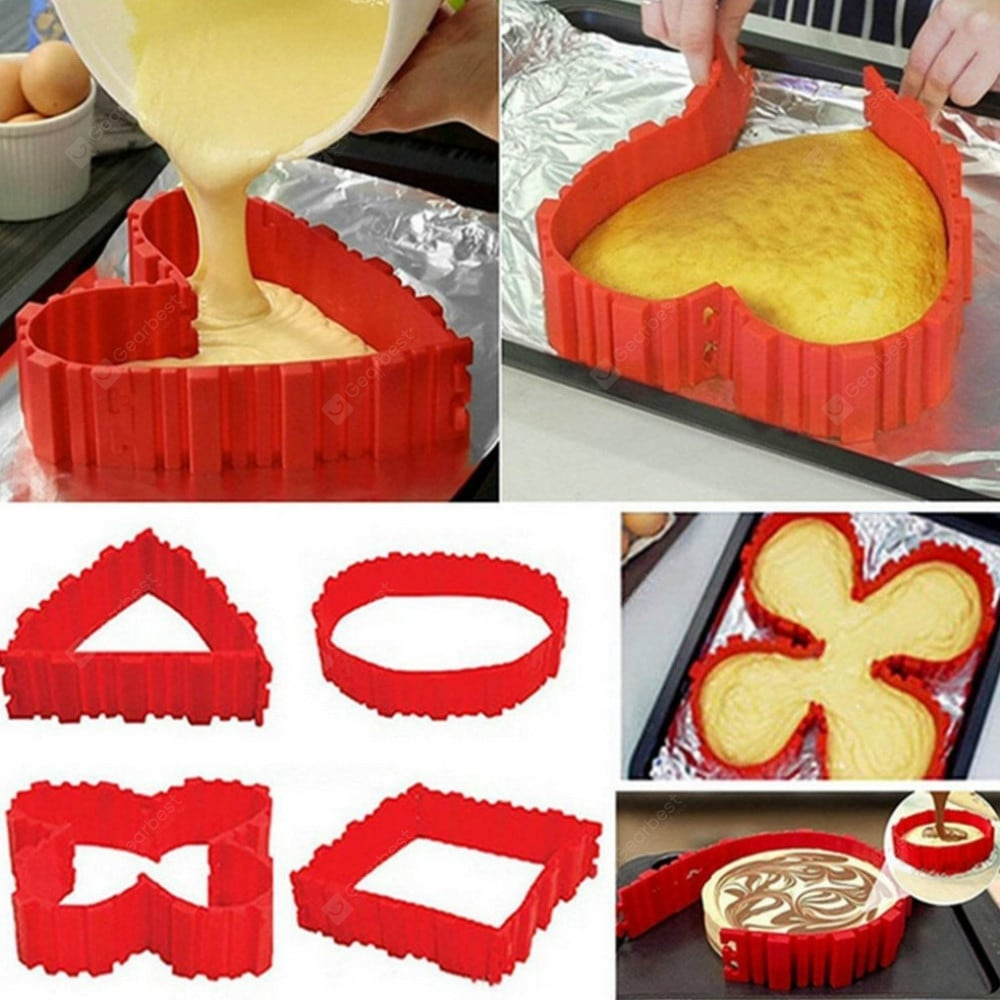 4 Pcs/set DIY Silicone Cake Mold Square Flower Heart Round Cake Baking Moulds Bakeware
