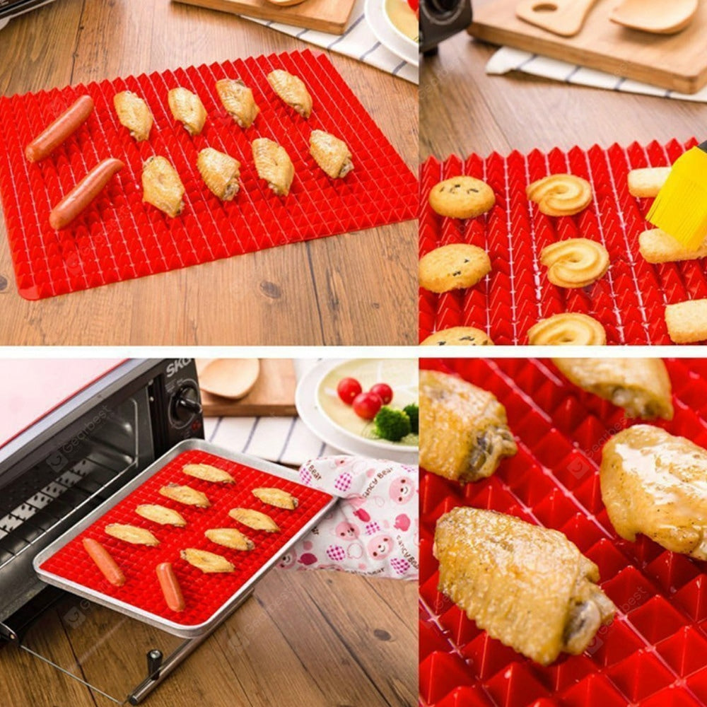 Red Bakeware Pan Nonstick Silicone Moulds Cooking Mat Oven Baking Tray Sheet Kitchen Tools Bakeware
