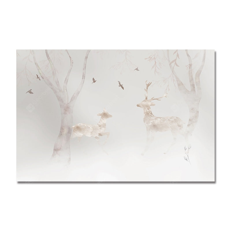 DYC Wild Deer and Birds in the Forest Print Art Wall_Art