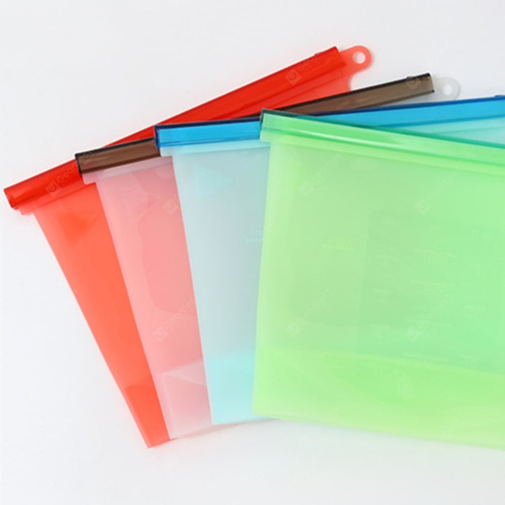 Food Grade Silicone Fresh Bag Home Food Sealing Storage Bags 1000ML 4PCS Other_Kitchen_Accessories
