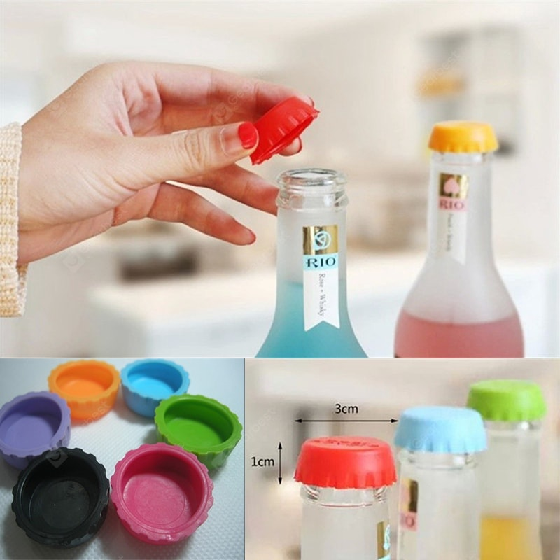 WS 3cm Colorful Silicone Beer Bottle Cap 6PCS / Set Barware