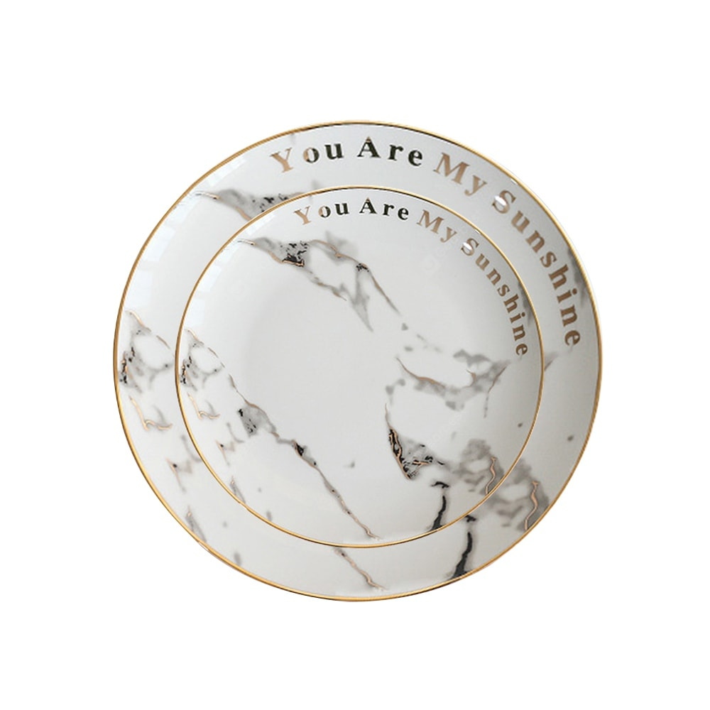 Ceramic Dinner Plate Marble Pattern Gold Drawing Round Shaped Home Dining Dish Dinnerware