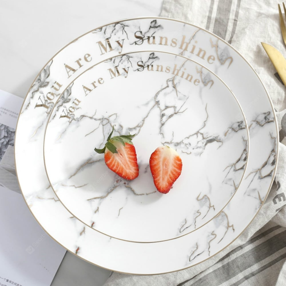 Ceramic Dinner Plate Marble Pattern Gold Drawing Round Shaped Home Dining Dish