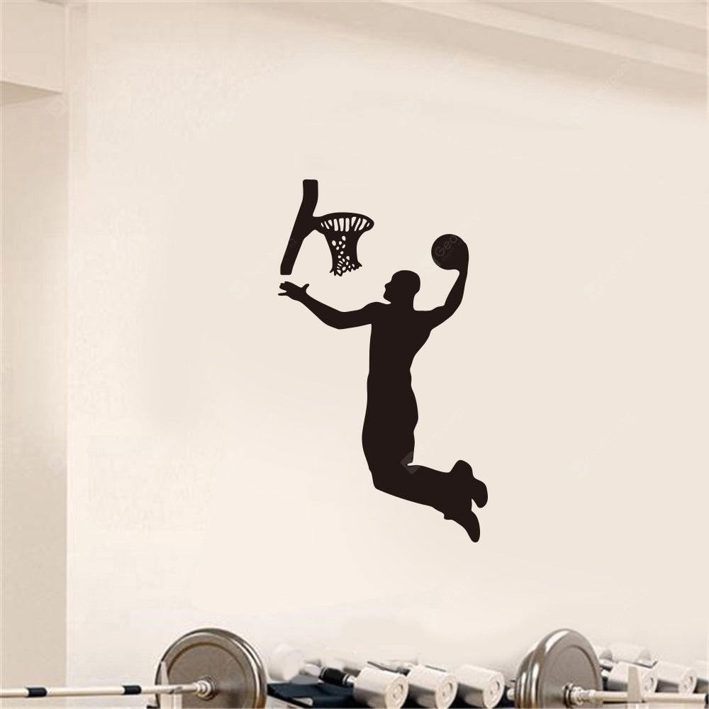 Playing Basketball Fitness Sports Home Background Decoration Removable Stickers Wall_Art