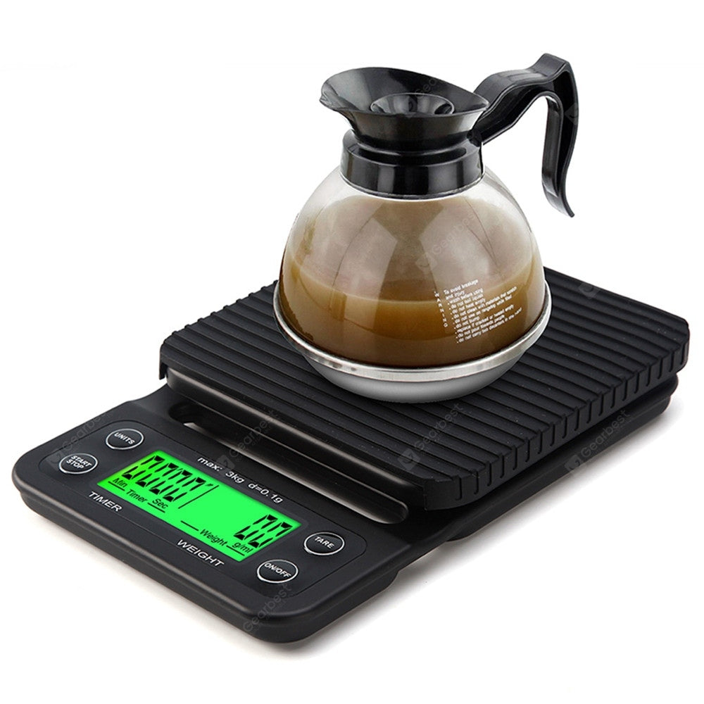 Portable 3KG 0.1g Drip Coffee With Timer Electronic Digital Kitchen Scale Cookware