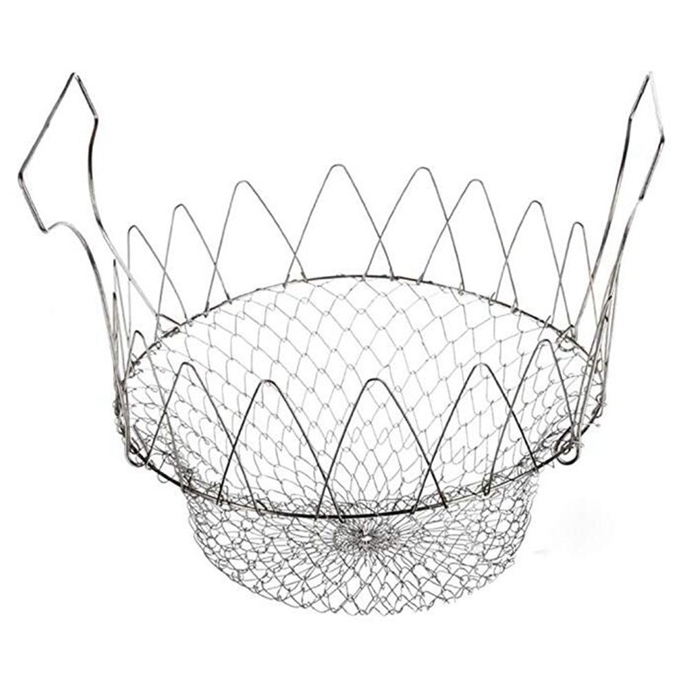 Stainless Steel Foldable Steam Rinse Strain Fry Basket Strainer Net Cookware