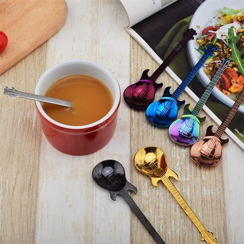 2PCS Stainless Steel Spoon Coffee Guitar Shape Tea Stirring Spoon Cookware