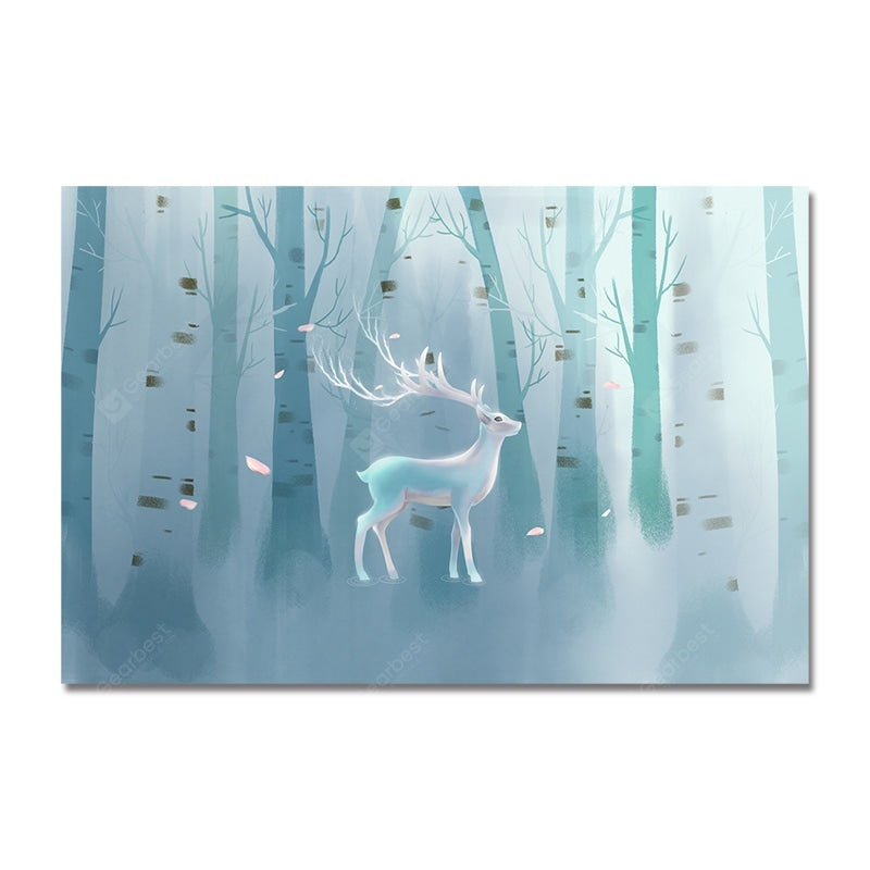 DYC Abstract Silhouette of Forest Wild Deer Print Art Wall_Art