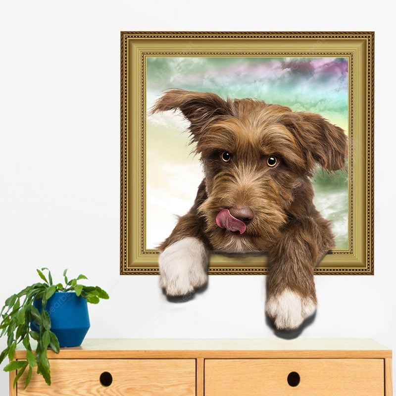New 3D Simulation Cute Dog Home Background Decoration Removable Sticker Wall_Art