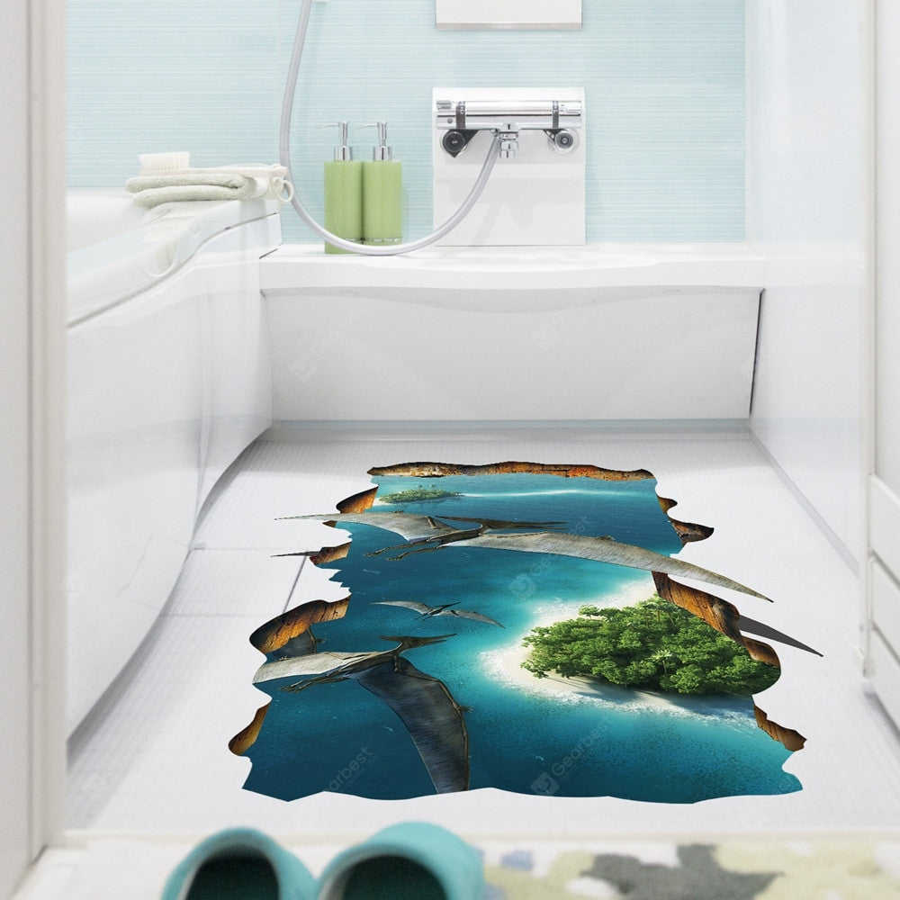 Pterosaur 3D Solid Floor Sticker Home Background Decoration Removable Sticker Wall_Art