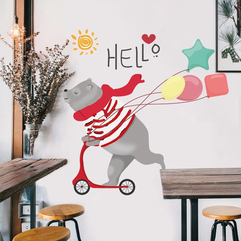 Cute Skateboard Bear Home Background Decoration Removable Sticker Wall_Art