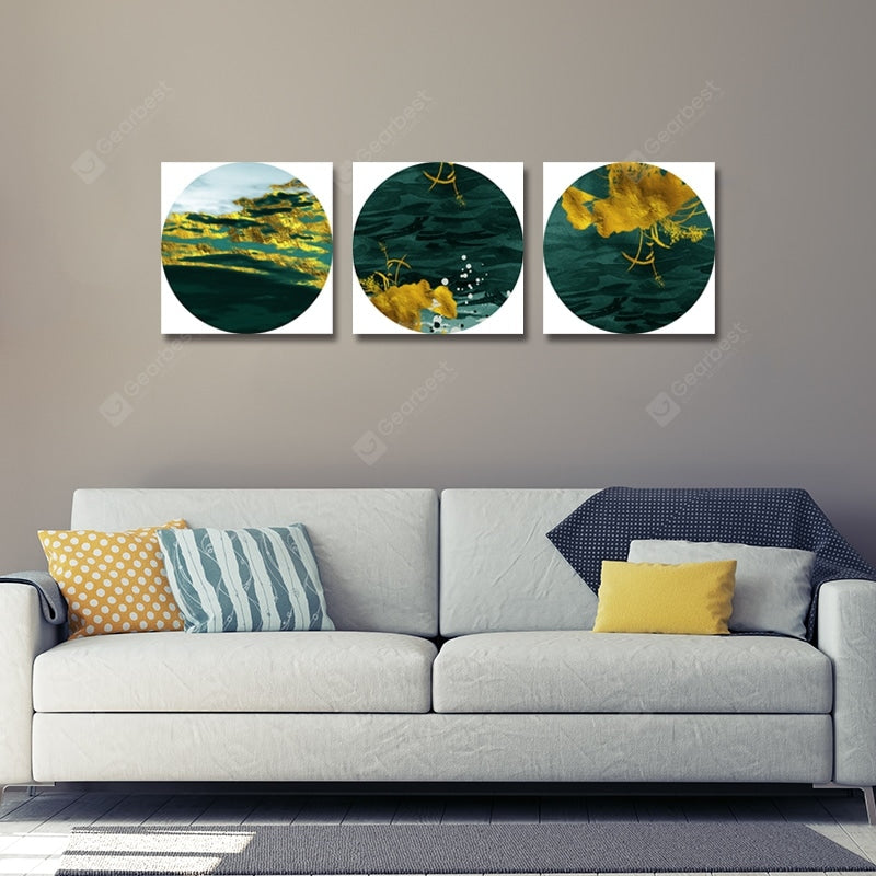 New Chinese Green Abstraction Print Art 3PCS Wall_Art