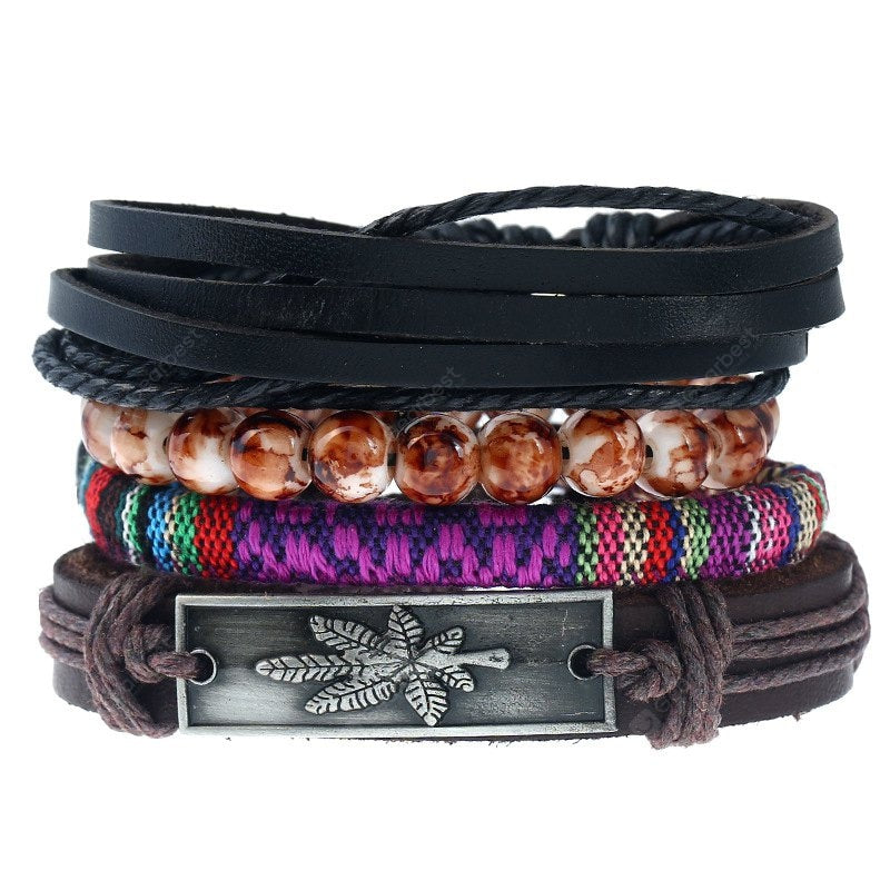 Knitted Maple Leaf Diy Men'S Leather Bracelet and Bangles Multi-Layer Suit Jewelry Bracelets&Bangles