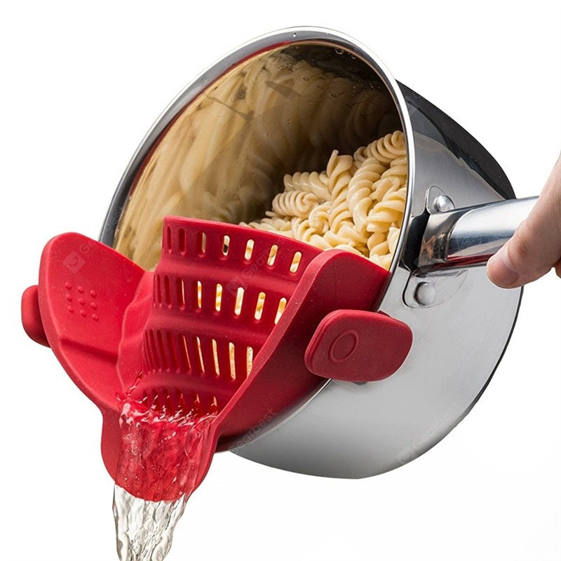 Kitchen Gizmo Snap Strainer Clip On Silicone Colander Fits all Pots and Bowls Cookware