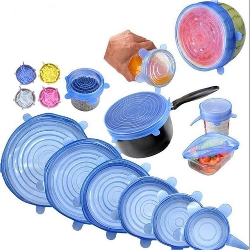 6PCS Reusable Silicone Stretch Lids Keep Fresh Food Kitchen Storage Wraps Cover Other_Kitchen_Accessories