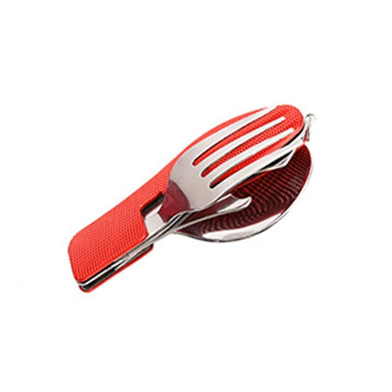 3-In-1 Camping Utensil Stainless Steel Fork Knife Spoon Bottle Opener Set with