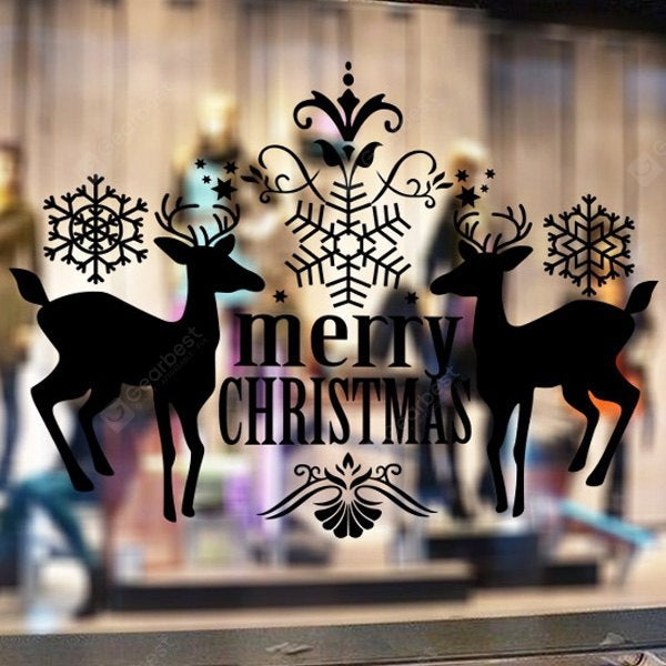Merry Christmas Deer Pattern Wall Stickers Showcase Decoration Wall_Art