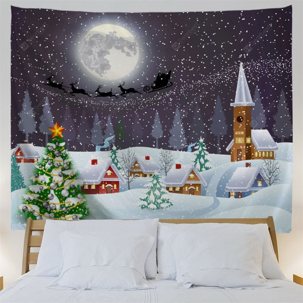 Christmas Snow Moon Town Wall Tapestry Tapestries