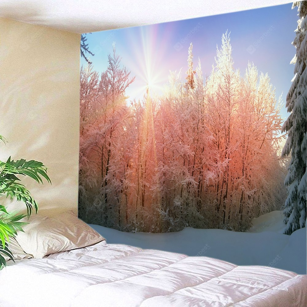 Wall Hanging Art Sunlight Snow Forest Print Tapestry Tapestries