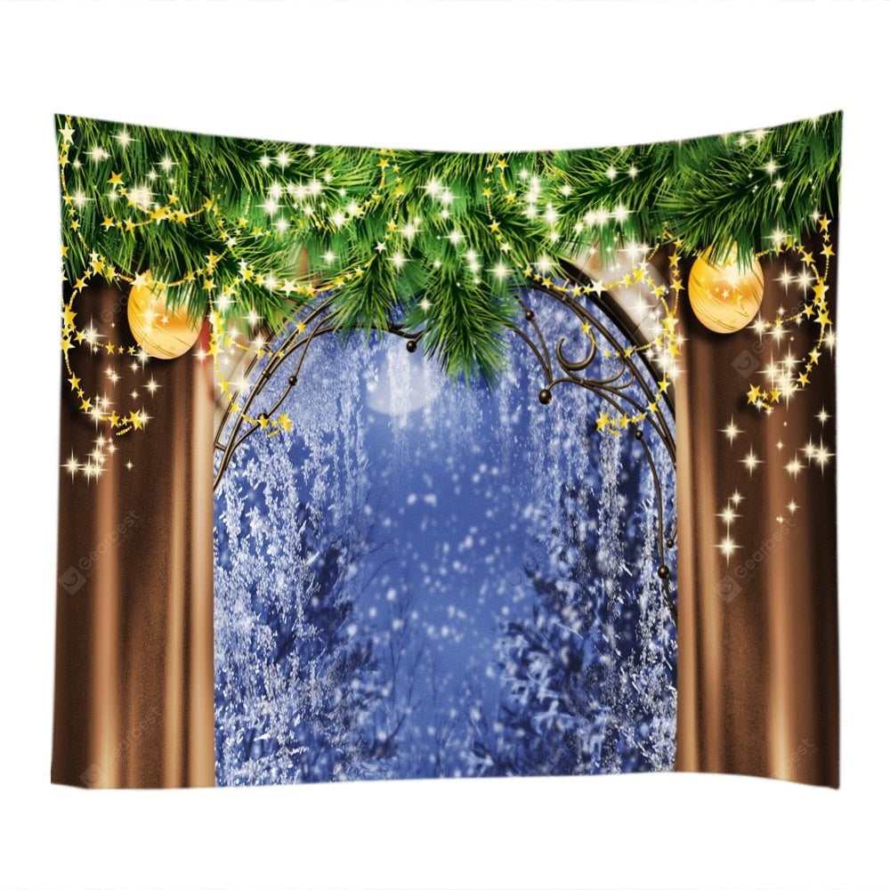 Wall Hanging Art Christmas Tree Window Print Tapestry Tapestries