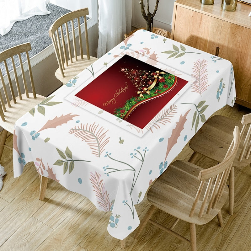 Christmas Tree Leaves Print Waterproof Fabric Table Cloth Table_Accessories