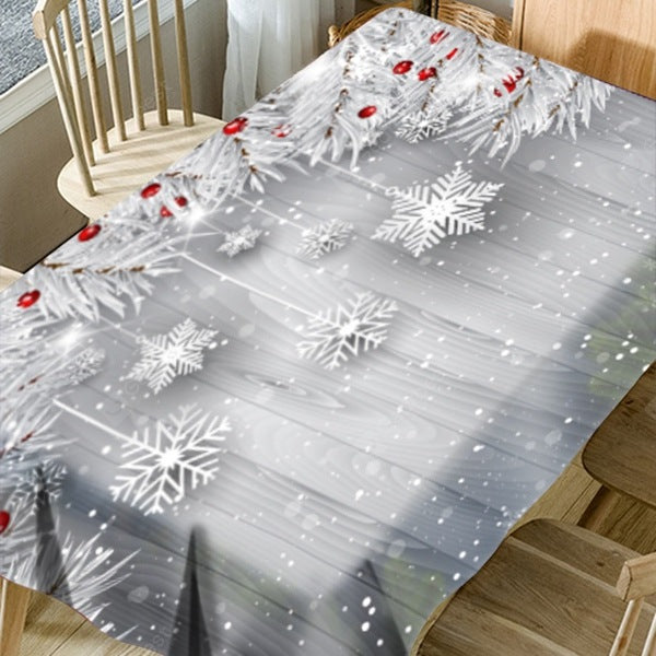Christmas Snowflake Ornaments Print Waterproof Table Cloth Table_Accessories