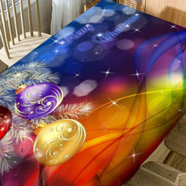 Christmas Hanging Balls Print Waterproof Table Cloth Table_Accessories
