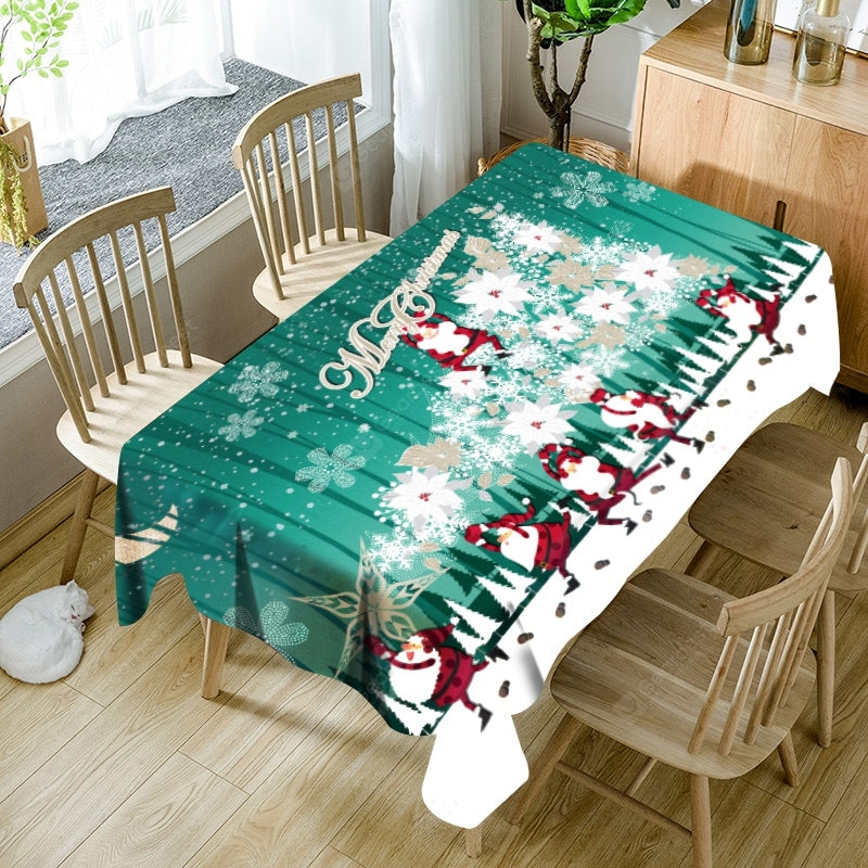 Abstract Christmas Tree Santa Claus Print Waterproof Table Cloth Table_Accessories
