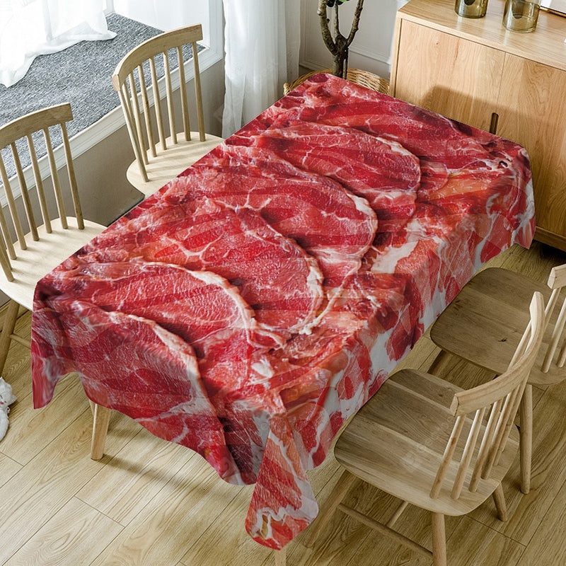 Sliced Meat Printed Waterproof Dining Table Cloth Table_Accessories