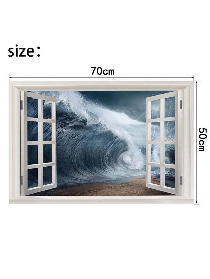 Huge Waves outside the Window Printed Wall Sticker Wall_Art
