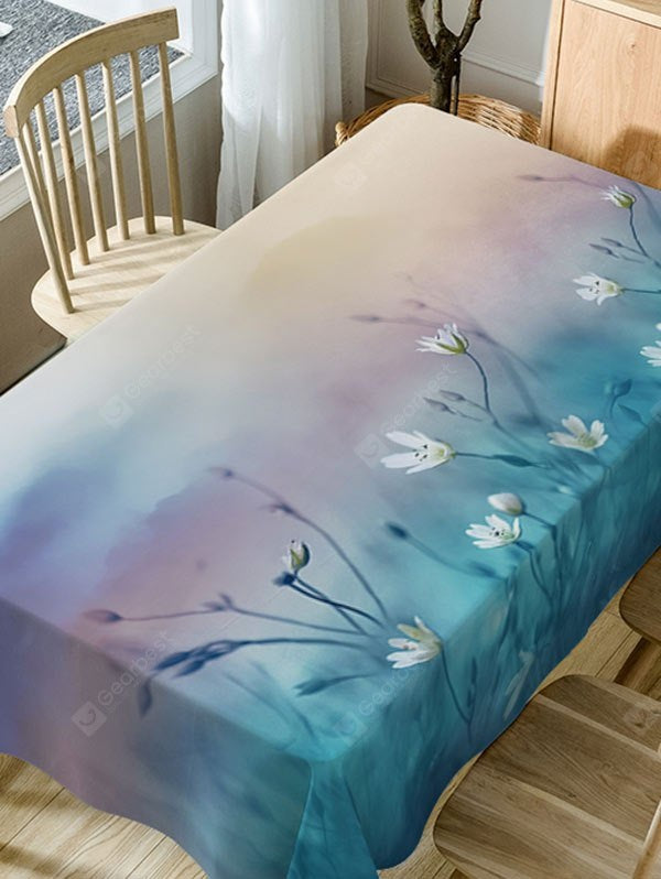 Floral Print Fabric Waterproof Table Cloth Table_Accessories