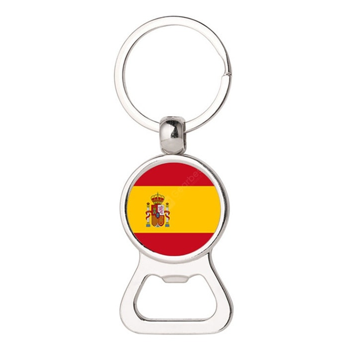 Germany Spain Flag Design 2-in-1 Bottle Opener Keychain Cookware