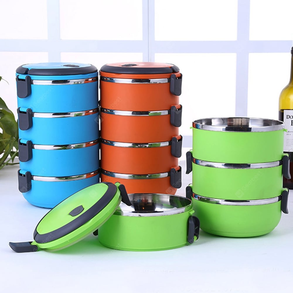 4 Layers Stainless Steel Thermal Lunch Box Dinnerware