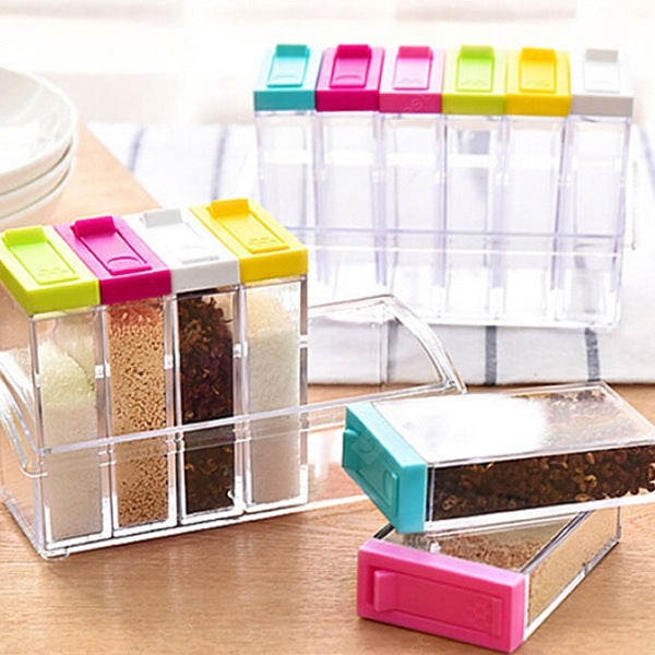 Fashionable 6 in 1 Plastic Seasoning Box Set in Kitchen Cookware
