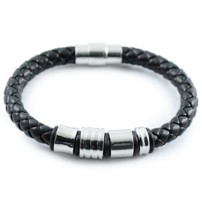 Men's Fashion Woven Rope Rock Punk Style Stainless Steel Leather Bracelet Bracelets&Bangles