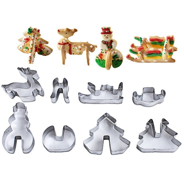 Stainless Steel Cookie Cutter 8 Piece Set 3D Christmas Three-dimensional Cake Mold Bakeware