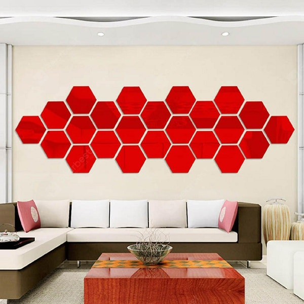 Hexagon Mirror Environmentally Friendly Acrylic Wall Stickers Background Wall Crystal Stereo Mirror Paste P1014 Wall_Art