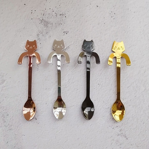 304 Stainless Steel Cat Spoon Stainless Steel Small Spoon Gold Creative Hanging Cup Coffee Spoon Children Tableware Dinnerware