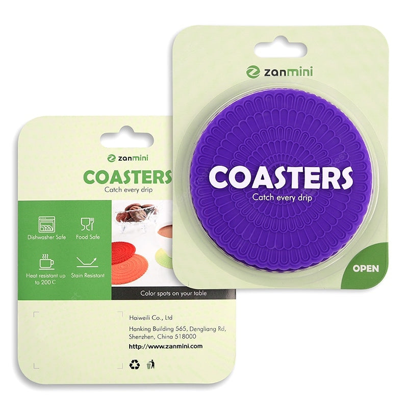 Zanmini Silicone Coaster Food Safe Cup Mat 6pcs Table_Accessories